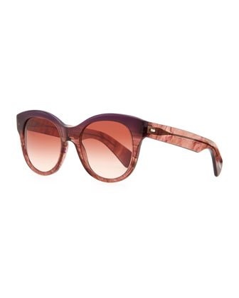 Jacey Oversized Sunglasses, Faded Fig