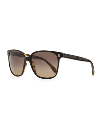 Marmont Plastic Polarized Sunglasses, Black/Tortoise