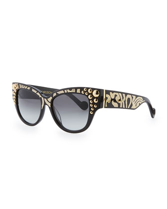 Mademoiselle d'Or Sunglasses, Black/Gold