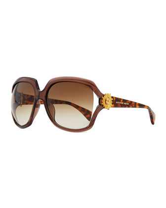 Gold Skull Square Sunglasses, Brown/Gold