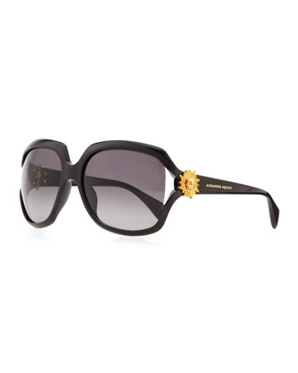 Gold Skull Square Sunglasses, Black/Gold