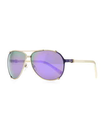 Metal Aviator Sunglasses with Enamel, Gold/Purple