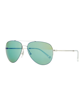 Flash-Lens Aviator Sunglasses, Gray/Green