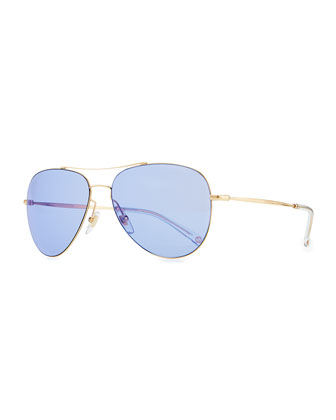 Flash-Lens Aviator Sunglasses, Rose Gold/Blue
