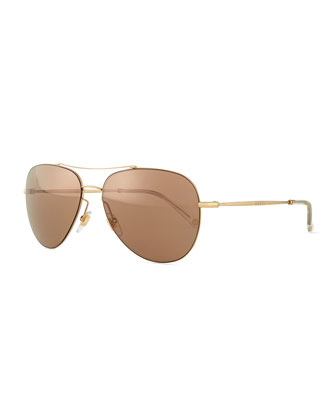 Flash-Lens Aviator Sunglasses, Brown/Golden