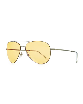 Flash-Lens Aviator Sunglasses, Dark Gray/Yellow