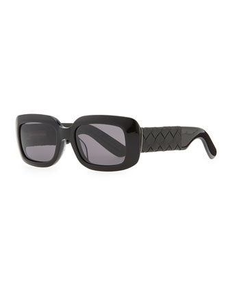 Square Sunglasses with Intrecciato Leather Arms, Black