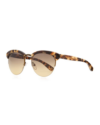 Half-Rim Tortoise Sunglasses, Tan/Brown