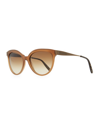 Transparent-Lens Tapered-Etched-Arm Sunglasses, Light Brown