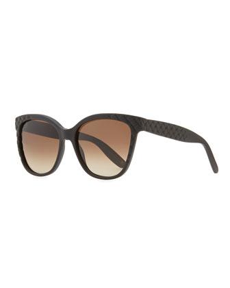 Intrecciato Acetate Sunglasses, Black