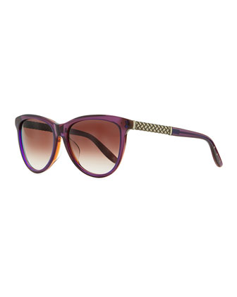 Intrecciato-Arm Acetate Sunglasses, Purple