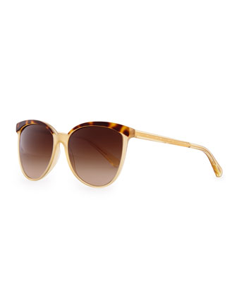 Ria Cat-Eye Sunglasses, Brown/Golden