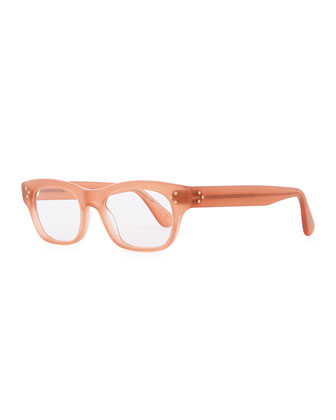 Artie 50 Rectangle Fashion Glasses, Soft Peach Rose