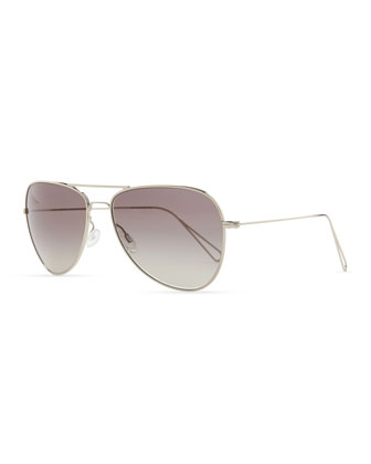 Isabel Marant par Oliver Peoples Matt 60 Aviator Sunglasses, Silver/Gray ...