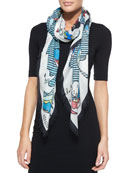 Fish-Print Square Scarf, White/Multicolor