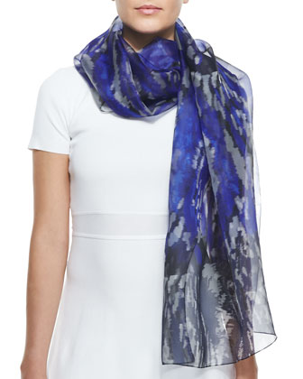Abstract Ikat-Print Organza Scarf, Blue