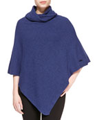 Wave Knit Poncho, Navy