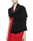 Perforated Velvet Scarf, Black