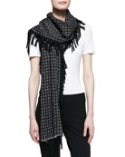 Graphic Fringe Scarf, Black/White