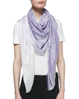 Tonal Floral Square Scarf, Lilac