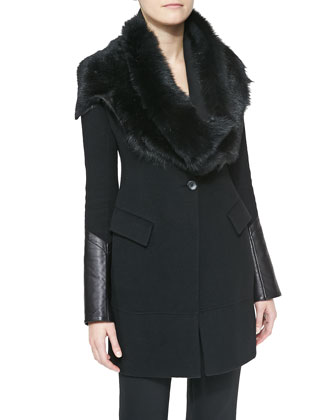 Shearling Tube Collar & Long Jacket with Leather Cuffs