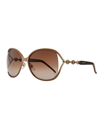 Metal Sunglasses with Chain, Bronze/Brown