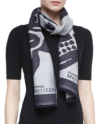 Floral Skull Oversized Wool Scarf, Gray/Blue