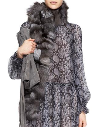 Python-Print Drop-Waist Dress & Fox Fur Scarf