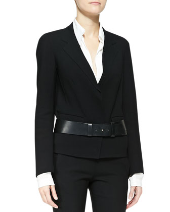 Long Gabardine Coat, Long-Sleeve Blouse with Cotton Yoke & Slice Leather ...