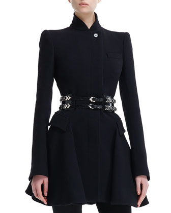 Kate High-Collar Flared Coat, High-Waist Cropped Pants & Double-Row ...