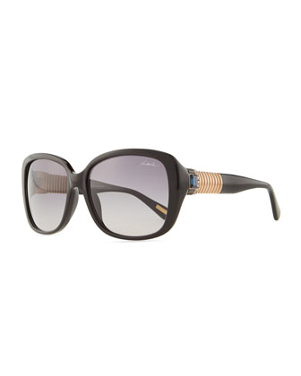Shiny Square Sunglasses with Crystal Temples, Black/Blue