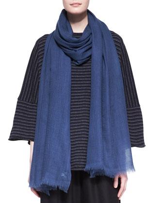 Square Short-Sleeve Top, Slimmer Longer Trouser & Fine Large Cashmere Scarf
