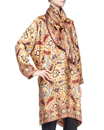 Collarless Printed Silk Tunic, Narrow Trousers & Mughal Garden Scarf