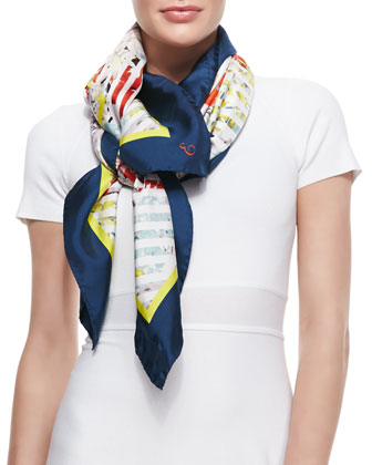 Eton Bloom Silk Twill Scarf, Black/White/Multicolor