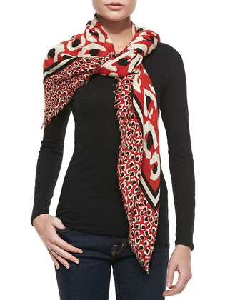 Leopard Painted Shawl, Orange/Black