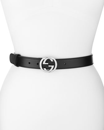 Leather GG-Buckle Belt, Black