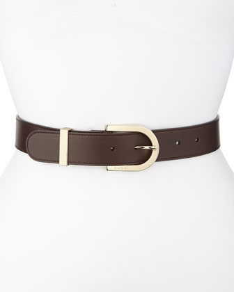 G Leather Belt, Brown