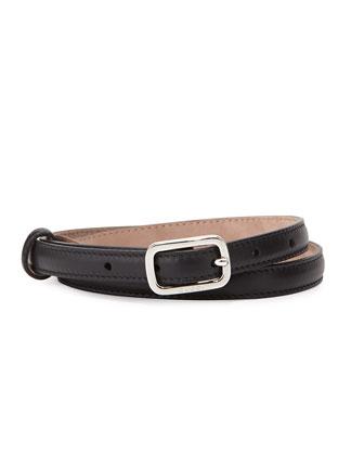 Leather Skinny Belt, Black