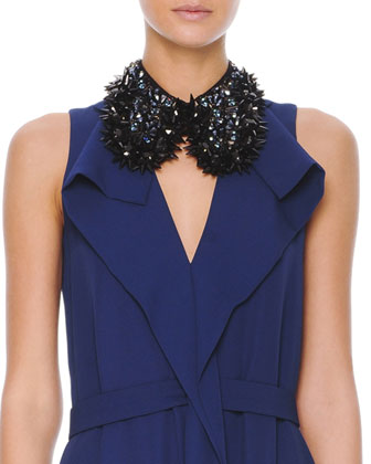 Sleeveless Drape-Collar Satin Dress & Studded Beaded Hook Collar