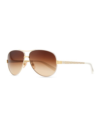 Metal Aviator Sunglasses with Logo Arms, Golden/Ivory