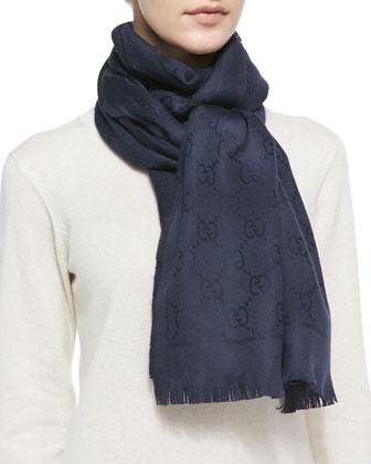 Wool Stencil Scarf, Blue Sapphire