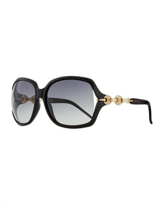 Large Sunglasses with Logo Arm, Black