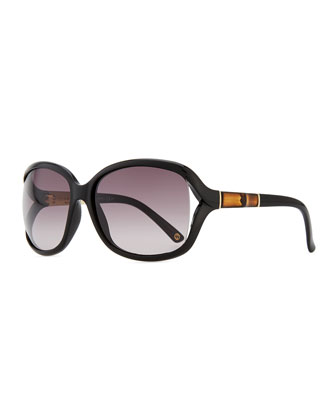 Large Sunglasses with Bamboo Arm, Black