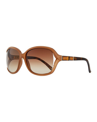 Large Sunglasses with Bamboo Arm, Powder