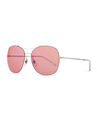Round Metal Aviator Sunglasses, Pink/Silver