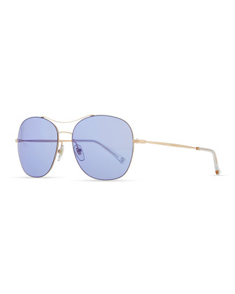 Round Metal Aviator Sunglasses, Blue/Rose Gold