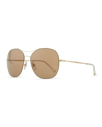 Round Metal Aviator Sunglasses, Brown/Golden