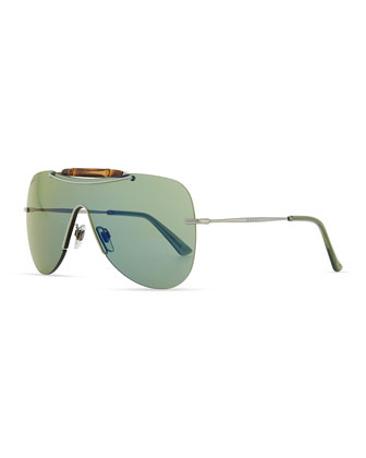 Metal Shield Sunglasses with Bamboo, Silver/Blue
