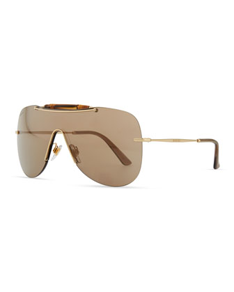 Metal Shield Sunglasses with Bamboo, Golden/Brown
