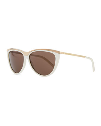 Metal-Brow Cat-Eye Sunglasses, White